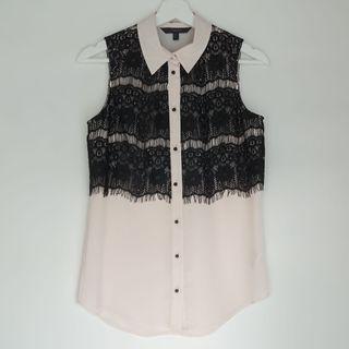 COAST lace black and cream sleeveless shirt