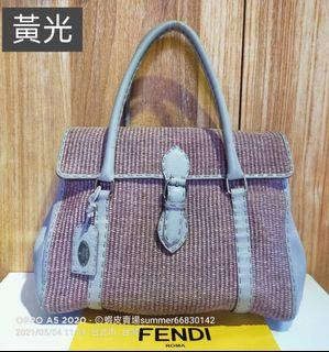 FENDI selleria 系列★薰衣草紫 拉菲草編包