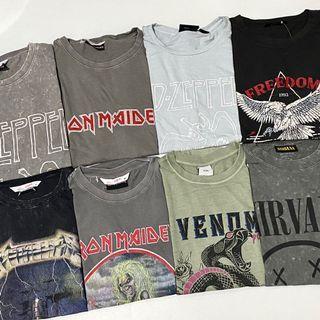 NEW Cotton On Vintage Band Tees Iron Maiden Metallica Led Zeppelin Overruns