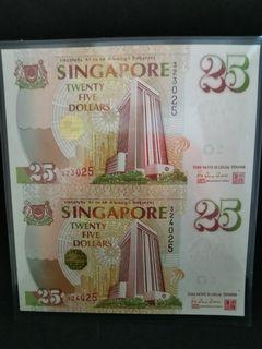 Singapore $25 UNCUT NOTE (2 set) Numbers 331025, 332025 & 323025, 324025