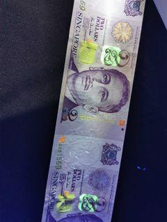 Singapore $2 UNCUT x2