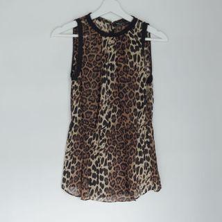 ZARA leopard sleeveless semi sheer top