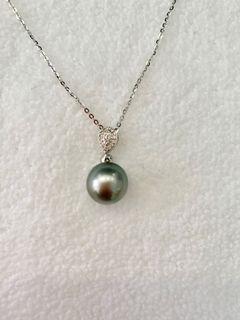 真心推介👍法國🇫🇷 11mm 大溪地珍珠 配16粒人造鑽石💎吊咀 (送意大利🇮🇹925頸鍊一條)