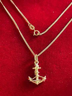 18Kt Gold Anchor Curb Necklace