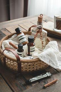 [全新] 現貨 北歐風手工藤編皮質把手收納籃桌面整理食物香薰化妝品收納