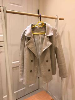 韓版 杏色 米色西裝毛料外套