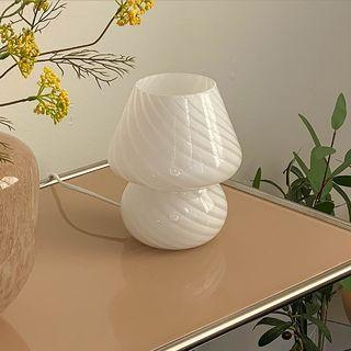 [全新] 北歐風韓國ig新款玻璃條紋設計蘑菇檯燈床頭燈