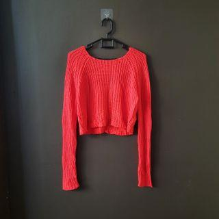 Colorbox red sweater rajut crop