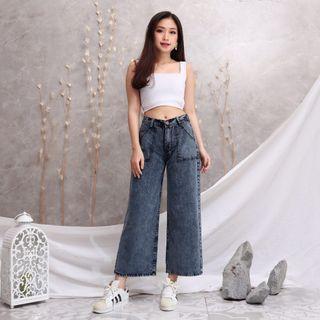 Cuci Gudang Jeans Kulot Size 34 Black Wash