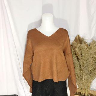 #diskonlebaran oversized brown soft knit / rajut halus