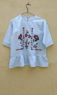 Embroidery Strip Blue White Puffy Top