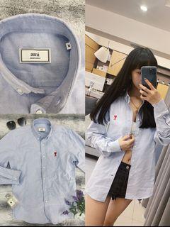 Farther購入原價6700$ AMI Paris (淺藍)牛津紡面料 精緻愛心刺繡 外套