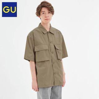 GU  男裝 工裝短袖襯衫 軍裝