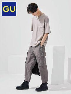 GU 工裝褲 軍褲 男壯闊腿窄口工裝九分褲 休閒工裝褲
