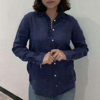 Massimo Navy Linen Shirt