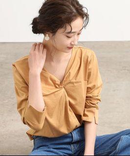 VIS日牌 扭結兩穿素面薄7分袖上衣(黃)