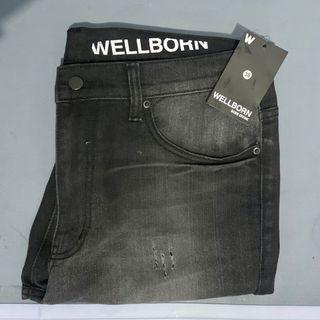 Wellborn Skinny Denim Black Pants [FREE GIFT]