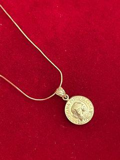 18KT Gold Padre Pio Charm Necklace