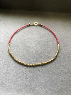 清邁手工純銀鍍24K金手工編織紅繩手鍊