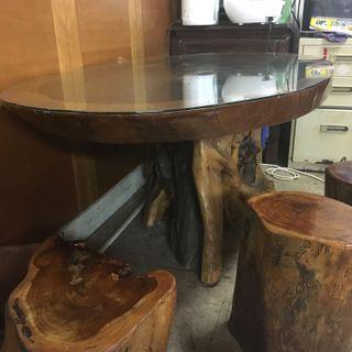 (二手)原木桌子、四張椅子 泡茶聊天好搭檔💗