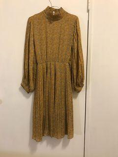 古著洋裝 芥黃色
