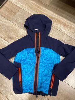 童裝 藍色 部分薄薄羽絨 連帽外套 130cm