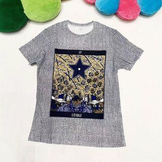 代購 法國時尚精品Dior迪奧亞麻混紡手工塔羅牌印花短袖T恤 義大利製