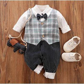 Baby Formal Bow Gentleman Romper with Green Lattice Vest, 3-6 months
