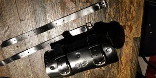 bike cowhide leather fork /saddle bag