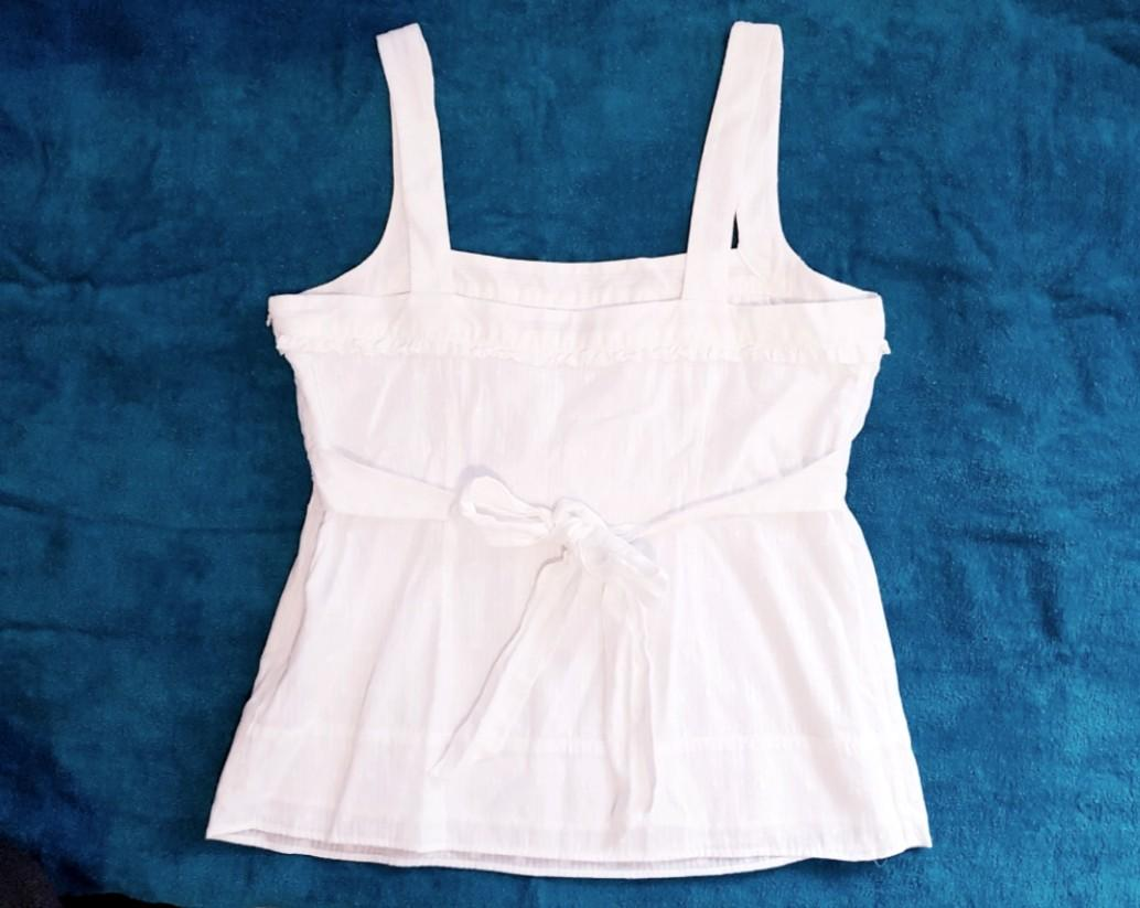 Limited white cotton frill tank top