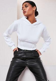Missguided white corset hoodie - Size US 2