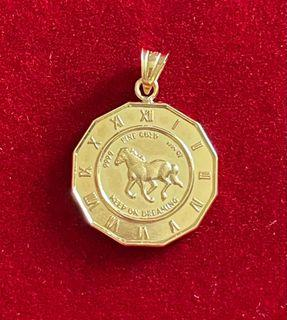 18KT Real Solid Gold Horse Charm Pendant