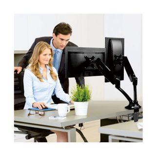 """**1-hour delivery** Loctek Monitor Mount Desk top Vesa LCD Arm Swivel Heavy Duty for Most of 10''-32"""" Curved Panel LED-Lit Computer Screen (Dual Arm DLB502-D) Monitor ArmMonitor StandDual Monitor ArmMonitor MountMonitor RiserPrism Monitor Arm"""