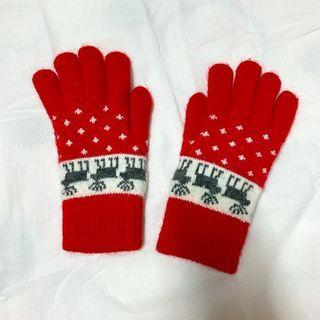 聖誕感紅色小鹿內刷毛保暖手套
