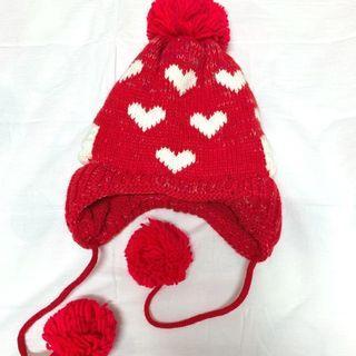 愛心紅色保暖球球針織毛帽