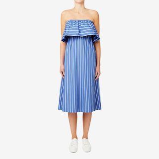 (接近全新) 澳洲知名品牌Seeds Heritage 休閒渡假風藍條紋露肩半長洋裝 - 只穿過一次短短的幾個小時