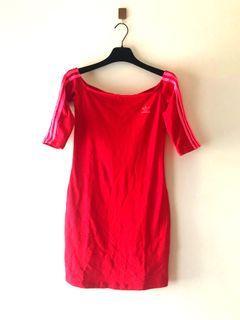 Adidas shoulder red dress 修身顯瘦 彈性連身裙