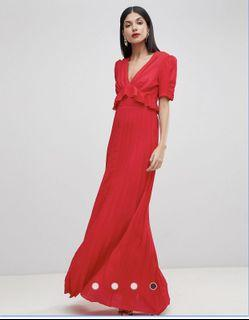 ASOS red pleated dress