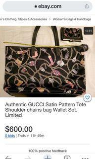 Authentic Gucci Silk/ Satin Tote