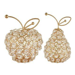 1set Bling  Pear Apple Ornament Home Wedding Decor Bday Gifts