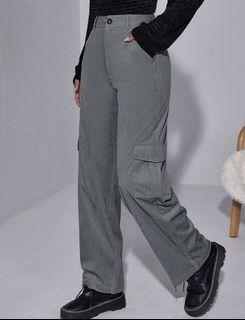 Grey Corduroy Cargo Pants with Pockets