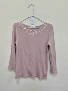 Couture Brooch 日本 專櫃 日系 品牌 長袖 粉色 上衣 全新