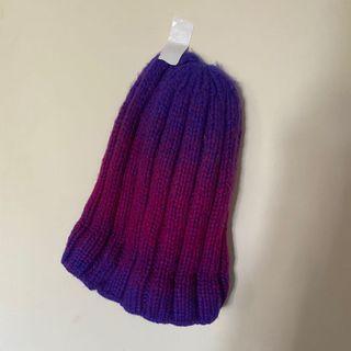 韓國購入🇰🇷korea製漸層顏色時髦坑條造型設計款復古個性百搭簡約奶奶手工感針織毛帽子出清特價