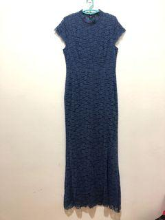 Maxi dark blue lace dress
