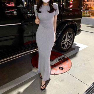 Minimei追加款✪韓系韓版歐美風氣質風百搭休閒纯色显瘦短袖休闲连衣裙