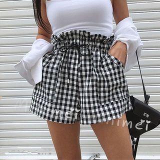 Minimei追加款✪韓系韓版歐美風氣質風百搭休閒高腰鬆緊腰抽繩小花邊寬鬆休閒短褲