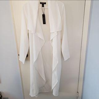 Sirens White Long Blazer/Jacket