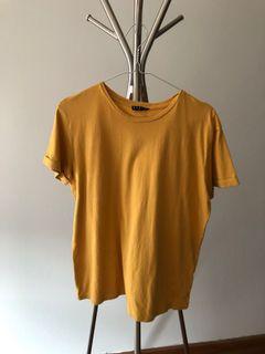 STRADIVARIUS basic yellow top ochre t shirt