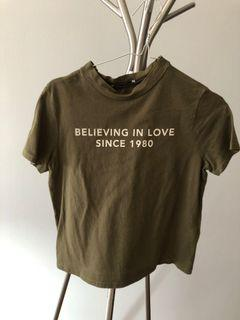 Zara Top believing in love since 1980 olive green trafaluc fall winter collection