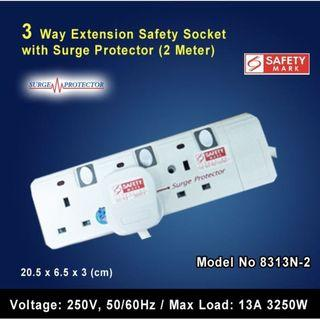 3 Way Extension Safety Plug Socket with Surge Protector